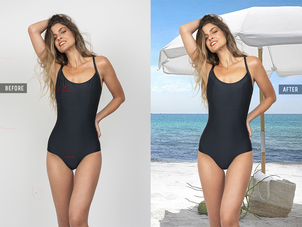 swimsuit photos full body retouching